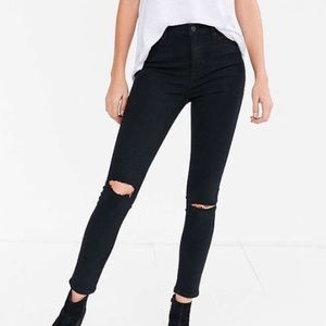 BDG black ripped knee skinny sting high rise jean